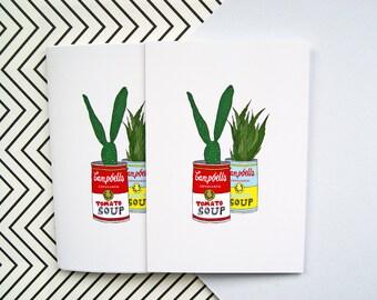 Illustrated A6 Notebook - Cacti - Handmade Pocket Notebook