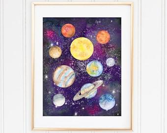 Sun, Moon, Earth, Mars, Solar System, Watercolor Planets, Nursery Decor, Planet Prints, Boys Room Decor, Kids Space Decor, Digital Print