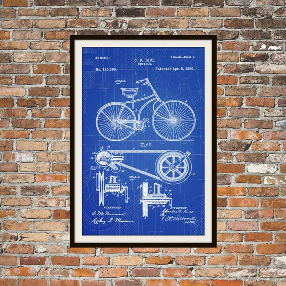 Blueprint art of patent bicycle 1890 technical drawings malvernweather Images