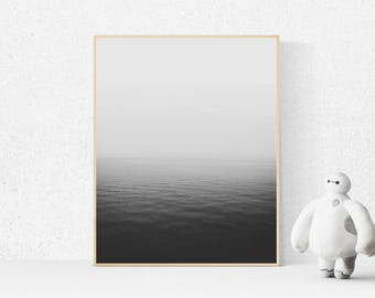Black and White Print, Black and White Photography, Seascape, Nature print, Fading Water, Minimalist Art, Ocean Print, wall art, art prints