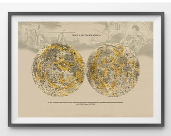 Astronomy Print  Poster Lunar maps Atlas Coelestis  Tabula Selenographica  Vintage Image to Frame
