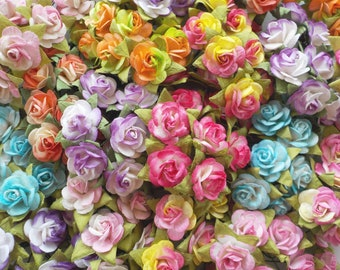 """100! Paper Roses, Mulberry Paper Roses, Card Making, Rose Embellishments, Paper Flowers, Scrapbook Rose, Paper Rose Mix, 10-15mm/0.5"""""""