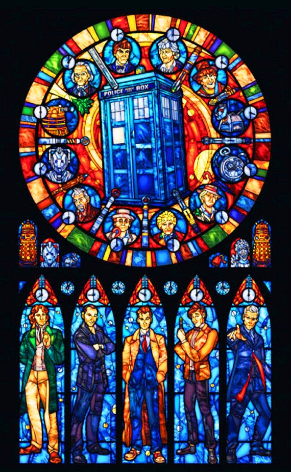 Buy 2 Get 1 Free Doctor Who Tardis Stained Glass 352 Cross