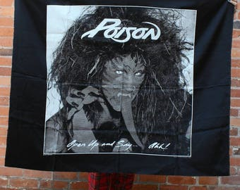 Poison Original 1988 Open Up and Say Ah NOS Rock Banner Flag