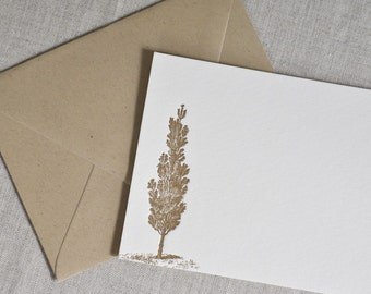 Letterpress Flat Card Set- A2 Homey Tree in Brown