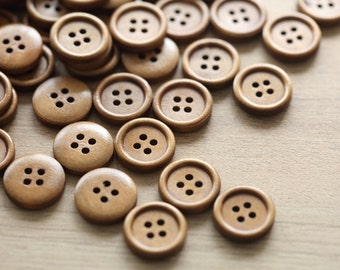 20 pcs of dark wooden buttons , 17mm