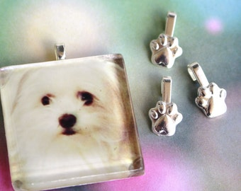 50 Jewelry Bails Small PAW PRINTS Aanraku Silver Plated Bails Dog Puppy Cat Jewelry 10mm Glue Pad