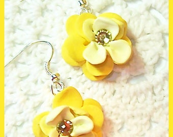 Flower Petal Earrings Polymer Clay Flower Blossoms Swarovski Crystals Dangle Earrings Handcrafted 3 shades of yellow