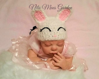 Baby Bunny Rabbit Hat Newborn 0 3m Spring Easter Hop Crochet Photo Prop Baby Clothes boy girl Gender Neutral SUPER SOFT & CUTE
