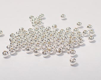 Pack of 100, 925 sterling silver seamless 2.5mm round bead / spacer, 1.2mm hole [our ref: 09-0137]