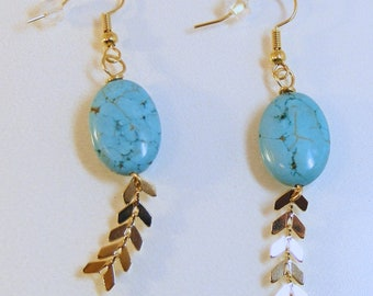 Gold Oval Turquoise Chevron Earrings