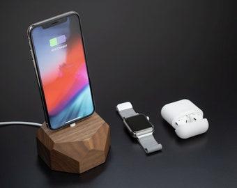 Wooden iphone dock station wood, iphone charging dock, iphone X dock, iphone dock charger wood iphone 7 dock station for men