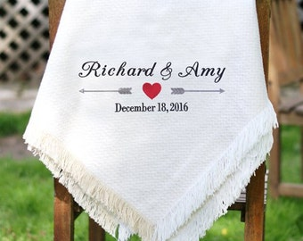 Embroidered Arrows and Heart Wedding Afghan [Chenille, anniversary, wedding, gift, couples, love, wedding gift, embroidered] -gfyE10430147