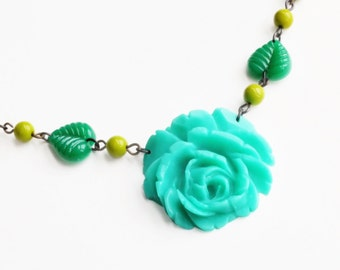 Green Rose Necklace Carved Rose Pendant Aqua Rose Necklace Vintage Rose Necklace Green Flower Necklace