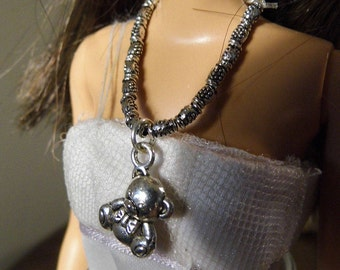 Cutest little bear Barbie necklace.  Tibetan Silver and charm.  Handmade by Nims