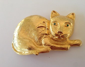 RESERVED HUGE Vintage Dotty Smith Kitty Cat Buckle with Green Rhinesone Eyes Signed gold Tone
