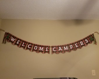 Buffalo plaid Banner, Camping birthday banner, welcome campers banner