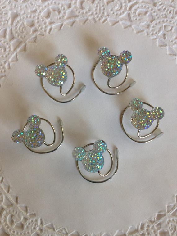 Disney Wedding MOUSE EARS-Hair Swirls-Hidden Mickey Hair Spins-Hair Coils-Hair Spiral-Clear AB Acrylic