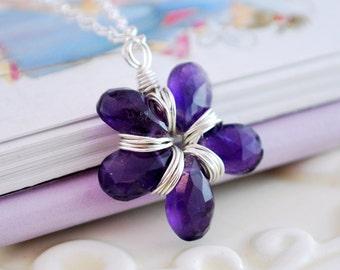 Amethyst Necklace Flower Girl February Birthday Dark Purple Genuine Gemstone Jewelry Sterling Silver