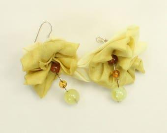 Amber and silk bells earrings