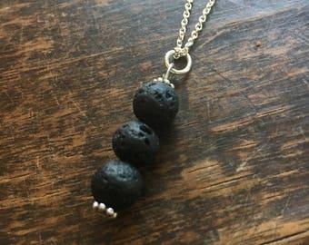 Three black lava stones pendant essential oils diffuser necklace