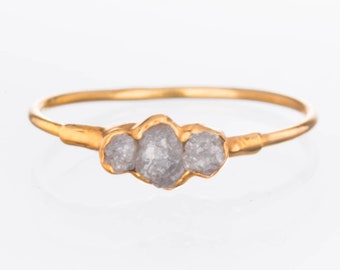 Gold Triple Raw Diamond Ring for Women, April Birthstone Ring, Raw Stone Ring, Boho Ring, Crystal Ring, Stacking Ring, Raw Gemstone Ring