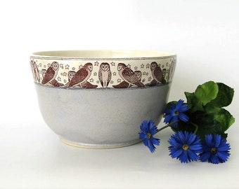 Ceramic Bowl  - Mixing Bowl - Owl - 40 oz - Large Bowl - Ready to Ship - Hand Thrown Stoneware Bowl