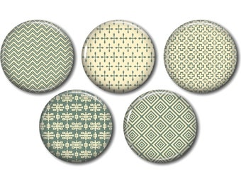 Lot 5 resin craft, round cabochons, 20 or 25 mm 01 green Beige graphic choice
