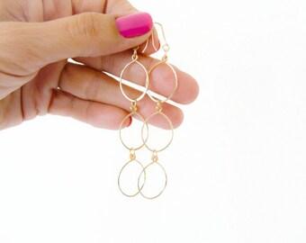 Gold Filled Earrings//Triple Oval Earrrings//Long Earrings// //Handmade Jewelry//Gifts for Her//Handmade Jewelry