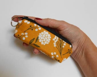 Small Coin Purse Zippered Pouch Earbud Pouch Mini Key Ring Zipper Pouch ECO Friendly Padded Lip Balm Holder Mustard Floral Toss