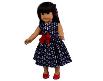 18 inc doll dress Made to fit all dolls like American Girl 18 inch doll clothes Blue anchor Doll dress Doll dress for 18 inch dolls
