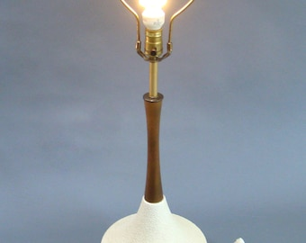 Superior Mid Century Modern Wood And Ceramic Lamp, Orange Peel Ceramic, White And  Teak,
