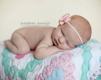 Pink Frosting - Skinny Gray or White Headband - Pink Satin Rosette Flower - Girls Newborns Baby Infant Adults - Photo Prop