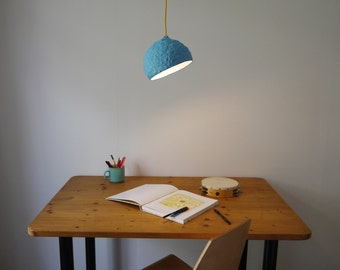 Lámpara colgante de papel maché Globe,  lámpara, papel mache, lampara de techo, lámpara de papel, lámpara industrial, azul, eco