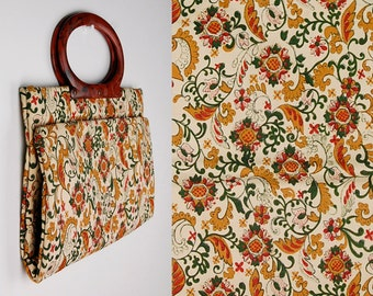 Vintage Paisley Collapsable Tote, Folds Up, Snaps