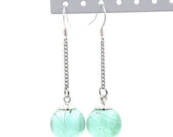 Mint green resin orb dangle drop earrings with dandelion seeds inclusions // Resin jewelry // Dandelion jewelry // Dandelion earrings