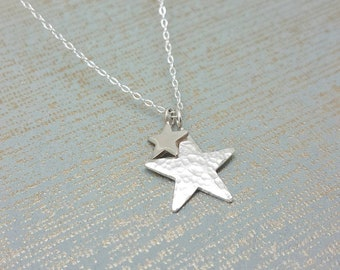 Silver hammered star pendant / Sterling silver two star necklace / 2 stars necklace / simple modern stacking