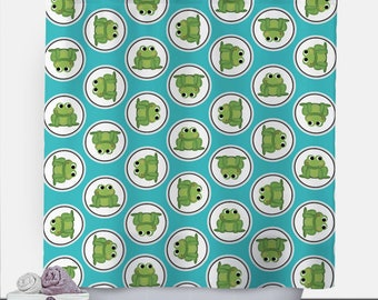 Frog Shower Curtain - Turquoise Green Frog Pattern - 71x74 - PVC liner optional - Made to Order