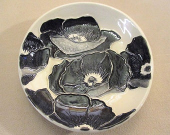 "Black & White Watercolor Poppies!  One of a Kind Handmade Ceramic jewelry, soap, trinket, ring dish    5""                  #4"