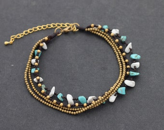 Strand Anklet Beaded Woven On the Beach Free Size Plus Size layer