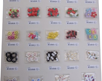142 pcs Kids Buttons cute styles - assorted 24 styles-CLEARANCE