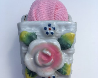 Pincushion Vintage Small  Porcelain White Basket with Pink Pincushion