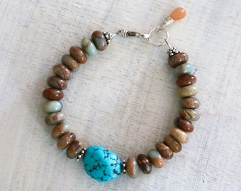Turquoise and gemstone bracelet with moonstone briolette