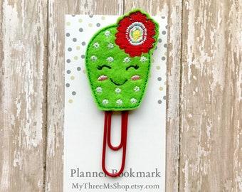 Cactus Feltie Planner Clip, Cactus Flower PaperClip Bookmark, Planner Embellishments Journaling Supplies, Cactus Bookmark Gift for Book Nerd