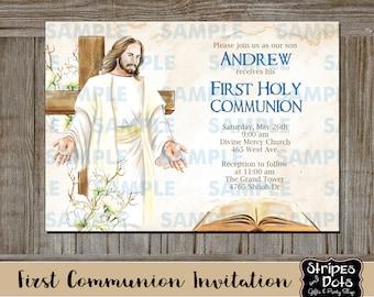 First Communion Invitations-Communion Invitations-Boy First Communion Invitations-Holy communion invitations-Girl Communion invitations