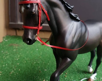 Model horse tack red english bridle LSQ