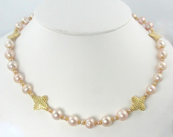 Pink Pearl Necklace with Gold Maltese Crosses