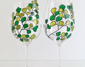 Maidenhair Fern Glasses - Hand Painted Fern Wine Glasses Green Leaves