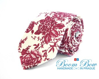 Mens Tie Maroon Floral Handmade Cotton Men's necktie Boom Bow wedding tie TC018