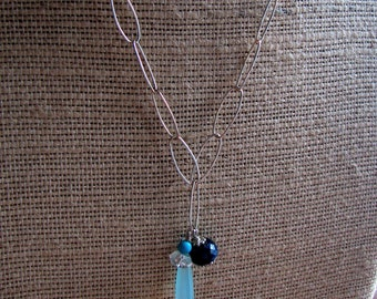 Seabreeze Trinket Necklace featuring Sapphire, Turquoise and Chalcedony